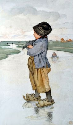 I think this was an illustration in a book I had as a kid - Hans Brinker and His Silver Skates I think it was called
