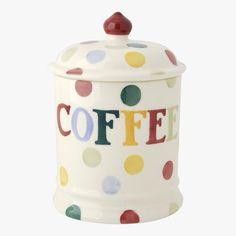 Polka Dot Text Coffee Storage Jar