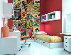 Avengers comics-themed wallpaper for the lil boys statement wall.