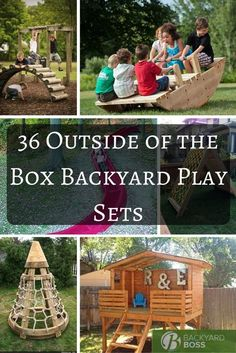 Tired of lugging your kids all the way to the playground just so they can play for a while? Think about all of that unused space just sitting there in your back or front yard. In fact, you wouldn't really need much space at all to set up a play set for the little guys. With a hint of creativity, a dash of patience, and a splash of handiness you can create any of these outside of the box backyard plays sets with very little materials and even less cost. Check them out! Number 27 is my favo... Kids Outdoor Play, Kids Play Area, Backyard For Kids, Outdoor Fun, Large Backyard, Backyard Bbq, Kids Playset Outdoor, Diy Outdoor Toys, Kids Yard