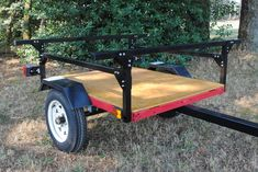 kayak accessories kayak trailer No Weld Trailer Rack Kayak or Toy Trailer DIY from Compact Camping DIY Trailers Trailer Kits, Kayak Trailer, Utility Trailer, Camping Trailers, Work Trailer, Trailer Plans, Trailer Build, Kayak Storage Rack, Fishing Rod Storage