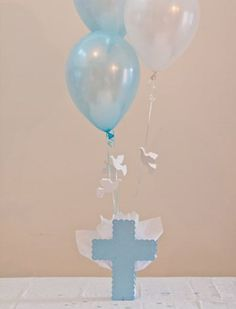 Our Cross Balloon Centerpieces with Flying Dove Balloons are the perfect Baptism table Decorations, Christening Decorations or Communion Christening Table Decorations, Boy Baptism Centerpieces, Communion Decorations, Balloon Centerpieces, Balloon Decorations, Shower Centerpieces, First Communion Party, Baptism Party, Baptism Ideas