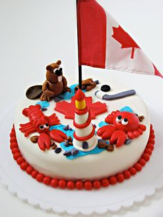 Love this Canada Day cake with a beaver and lighthouse! Fancy Cakes, Cute Cakes, Sweet Cakes, Yummy Cakes, Canada Celebrations, Canada Day Crafts, Canada Holiday, Happy Canada Day, Gateaux Cake