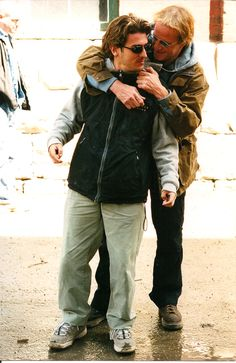 "Writer, artist and filmmaker David De Bartolome, age 23, on the set of ""Absolon"" with actor Christopher Lambert. 2003."