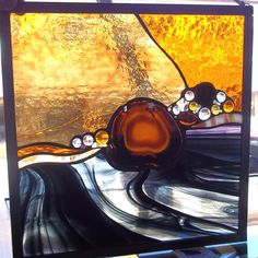 Large Geode Stained Glass Window Panel   Black Water by rneely, $99.00