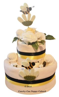 """Unisex New Baby Gift - """"A he or a she what will you bee?"""" Nappy Cake"""