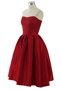 Bustier Strapless Dress in Red - New Arrivals - Retro, Indie and Unique Fashion