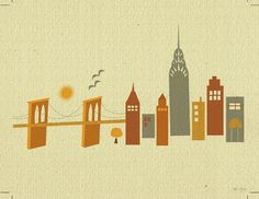 New York with Brooklyn Bridge Skyline - Retro Travel Destination Art Poster Print  - style E8-O-NY5