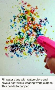 Water gun fight with water color paint! Have the kids wear white. Messy colorful fun!