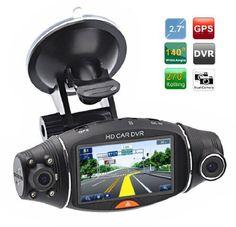 Cool Gadgets Dual Camera Hd Car DVR Vehicle Dash Camera w/ G-sensor & GPS Module & Night Vision