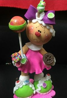 Gingerbread girl with lollipop Christmas Clay, Xmas, Christmas Ornaments, Christmas Gingerbread, Christmas Decorations, Holiday Decor, Clay Creations, Cake Pops, Crafts