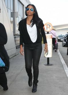 Bride-to-be Gabrielle Union flashes some major left-hand bling at LAX in her James Jeans in Black Jeather. Click to steal her style!
