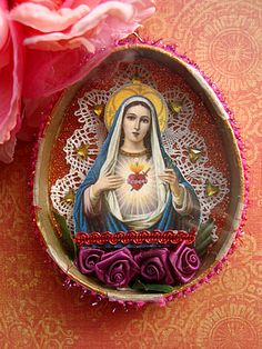 Little Easter egg Holy Mary shrine by filzgood Religious Icons, Religious Art, Sainte Therese De Lisieux, Faith Crafts, Catholic Crafts, Tin Art, Found Object Art, Holy Mary, Blessed Virgin Mary