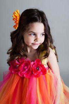 Summer Sunset Flower Girl Tutu Dress