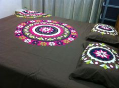 "Hand Made Applique Bed Sheet. Color guarantee. Fabric Pure Cotton. Size 108"" by 96"" inches..279 cm by 249 cm. 9 piece bed sheet. 1 sheet, 2 pillow, 2 cushion, 2 square cushions, 2 cylinder pillows. Gently wash. imported.  Price 95 US $."
