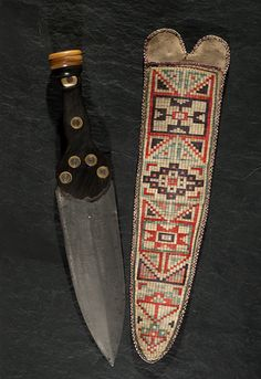 Metis Quilled Hide Knife Sheath with Dag Knife From the Collection of Marvin L. Lince, Oregon n.d.