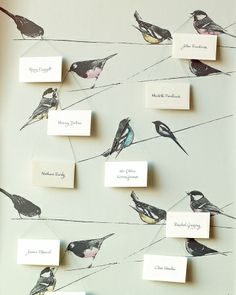 inspiration | birds on a wire escort card holder | via: martha stewart weddings