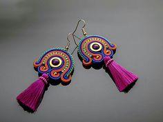 Soutache Necklace, Diy Necklace, Bead Earrings, Tassel Earrings, Wire Jewelry, Boho Jewelry, Jewelery, Jewelry Design, Earring Trends