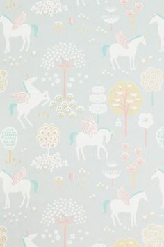 The wallpaper True Unicorns Grå - from Majvillan is a wallpaper with the dimensions x m. The wallpaper True Unicorns Grå - belongs to th Unicornios Wallpaper, Wallpaper Paste, Wallpaper Online, Easy Up, Pastel Colors, Colours, Turquoise Wallpaper, Unicorn Bedroom, Unicorn Decor