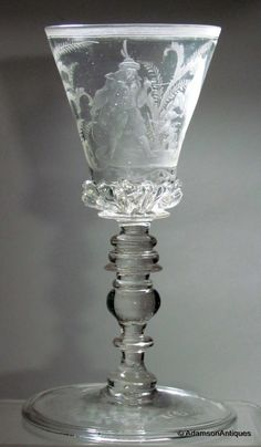 Bohemian Engraved Goblet 1680 ~ exquisite glassware for a formal table