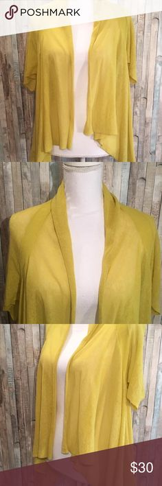 Yellow Bird Anthropologie Sheer Linen Cardigan A darling little sheer open front cardigan from Yellow Bird Anthropologie  Size: Small Color:Yellow Design: Cardigan Sleeves: Short Materials:44% Linen, 36% Cotton and 2% Nylon    Condition: Gently preowned, no stains or flaws Anthropologie Tops