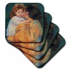 3dRose Maternal Kiss, 1896 by Mary Cassatt, Ceramic Tile Coasters, set of 4