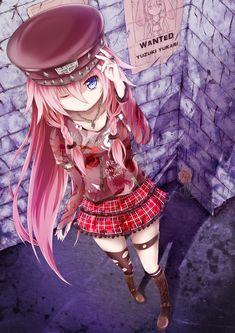 ✮ ANIME ART ✮ punk. . .gothic. . .punk fashion. . .Vocaloid. . .pink hair. . .plaid skirt. . .ripped up shirt. . .stockings. . .boot. . .cap. . .studs. . .pink hair. . .badass. . .kawaii