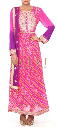 Buy Online from the link below. We ship worldwide (Free Shipping over US$100) Price- $319.00 Click Anywhere to Tag http://www.kalkifashion.com/pink-bandhani-suit-enhanced-in-gotta-applique-work-only-on-kalki.html
