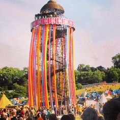 The viewing tower. Glastonbury festival.