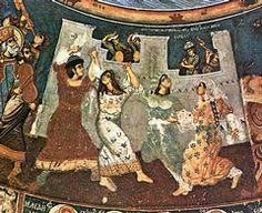 Wall-painting illustrating David's psalm 'Praise ye the Lord with stringed instruments and flutes', in which women with timbrels are depicted dancing and musicians playing popular instruments, 18th century, Great Lavra Monastery, Mount Athos.