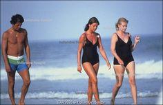 Princess Grace, Princess Caroline and Philippe Junot. Ocean City, 1978.