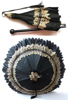 Antique Mid Victorian Black Silk Wood Lace Carriage Parasol Umbrella 1870
