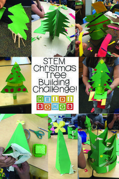 STEM Christmas Tree Building Challenge: Can you build a tree that will stand up by itself, using just the supplies given?