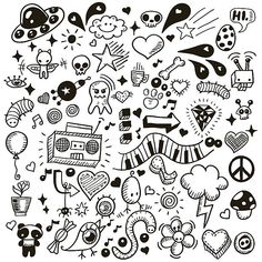 Doodles royalty-free doodles stock vector art & more images of scribble Kritzelei Tattoo, Doodle Tattoo, Poke Tattoo, Tattoo Drawings, Easy Doodle Art, Doodle Art Drawing, Tattoo Flash Sheet, Tattoo Flash Art, Mini Drawings