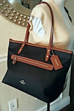 COACH Sawyer Canvas Leather Tote, Shoulder Bag, Purse, Black, F37237 USA Seller #Coach #TotesShoppersShoulderBagPurse