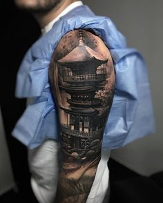 Beautifully detailed pagoda, part of an Asian themed sleeve by Emersson Pabon, an artist based in Caracas, Venezuela.