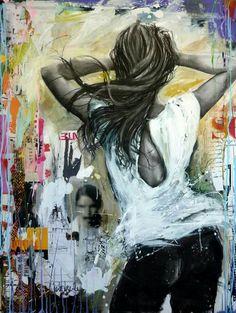 Cécile Desserle Paint Photography, Portrait Photography, Newspaper Art, Cecile, Beautiful Drawings, Street Art Graffiti, Urban Art, Figurative Art, Female Art