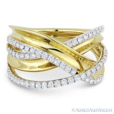 The featured ring is cast in 14k yellow & white gold and showcases a fancy design made up of overlapping loops & arches adorned with round cut diamonds.  #diamonds #brilliant #14kjewelry #14kgold #yellowgold #whitegold #rings