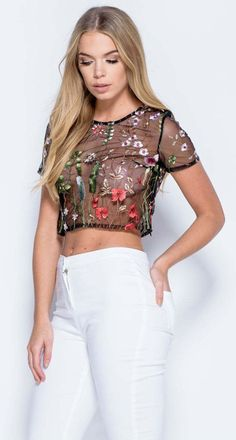 641361fded19 Short Sleeve Floral Embroidery Mesh Crop Top Mesh Crop Top, Mesh Tops, Crop  Top