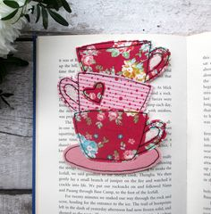 Pink Floral Bookmark, Gift For A Book Lover - Folksy Etsy Handmade, Handmade Gifts, Tea Coaster, Mother Day Gifts, Mom Gifts, Machine Embroidery, Hand Embroidery, Embroidery Patterns, Decoration