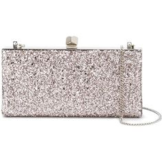 Jimmy Choo Celeste clutch (£670) ❤ liked on Polyvore featuring bags, handbags, clutches, pink, sparkly purses, pink leather purse, genuine leather handbags, over the shoulder purse and real leather handbags