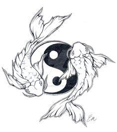 Yinyang Koi fish tattoo design by Les-belles-soeurs on DeviantArt Yin Yang Tattoos, Coy Fish Tattoos, Body Art Tattoos, Sleeve Tattoos, Circle Tattoos, Owl Tattoos, Maori Tattoos, Samoan Tattoo, Polynesian Tattoos