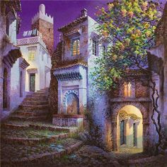 Fine Art and You: Luis Romero Spanish Painters, Spanish Artists, Pintura Exterior, Fantasy Places, Colorful Paintings, Art Graphique, Pablo Picasso, House Painting, Painting Techniques