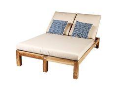 Master Patio: Caluco Teak Cushion Double Chaise Lounge Bed 50-219: LuxePatio.com