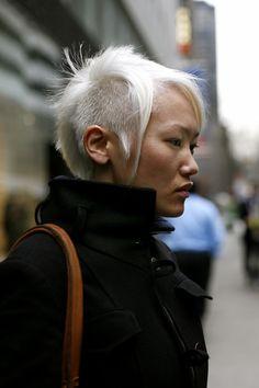 White hair shaved sides