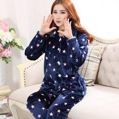 Autumn Winter Long Sleeved Women Flannel Thick Pajamas Coral Fleece Suits Pajama Sets Lovely Pyjamas Women Homewear Plus Size Winter Wear, Fall Winter, Autumn, Fleece Pajamas, Mode Hijab, Pajamas Women, Nightwear, Pajama Set, Sexy