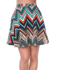 Another great find on #zulily! Teal & Orange Zigzag A-Line Skirt by White Mark #zulilyfinds