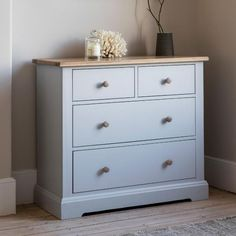 Buy Hudson Living Marlow Soft Grey Painted Chest of Drawer - 4 Drawer online by Gallery Direct from CFS UK at unbeatable price. Modern Chest Of Drawers, Small Sideboard, Painted Chest, Sustainable Furniture, Reclaimed Wood Furniture, Painted Furniture, Grey Oak, Dresser As Nightstand, Dressers