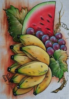 29 Wonderful Decor Painting And Decorating - Fruit Painting, One Stroke Painting, Tole Painting, Fabric Painting, Watercolor Paintings, Art Drawings For Kids, Easy Drawings, Art For Kids, Fruits Drawing