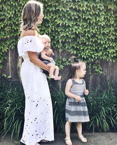motherhood   mom of two   blogging tips   mom blogger   blogiversary   summer style   maxi dress   eyelet   off the shoulder   girl mom (affiliated)
